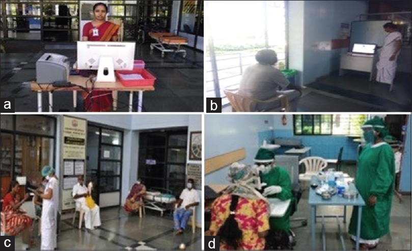 Figure 2: Temporary triage area near the entrance, (a) registration for emergency patients, (b) vision testing for patient, (c) history taking and triaging, (d) ophthalmic examination in the triage area
